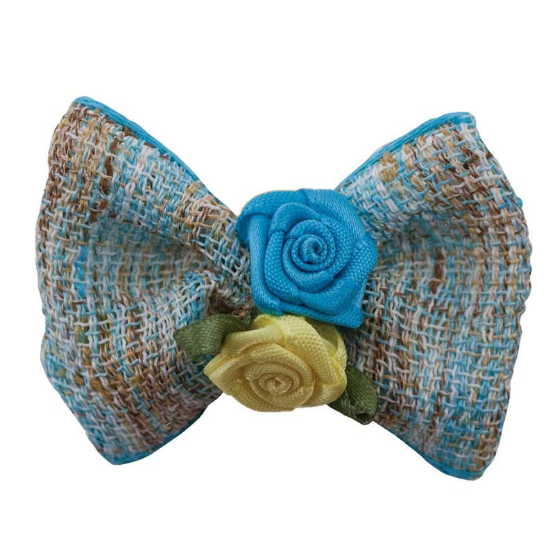 Fancy Finishes Linen Bows with Double Rose Center - 24 Count Bag