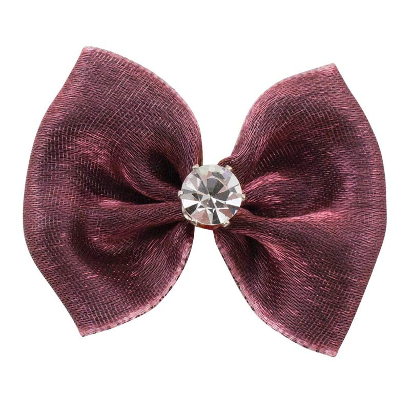 Fancy Finishes Metallic Sheen Bows With Rhinestone Center