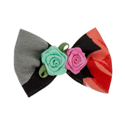 Black Fancy Finishes Designer Satin Bows with Double Rose