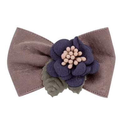 Purple Fancy Finishes Solid Color Satin Ribbon Bows with Flower