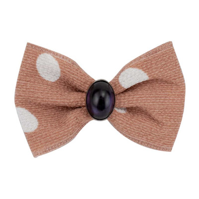 Pink and White Fancy Finishes Large Polka Dot Bows with Oval Bead