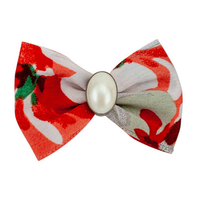 Red and White Fancy Finishes Designer Satin Grooming Bows with Pearl Oval Bead