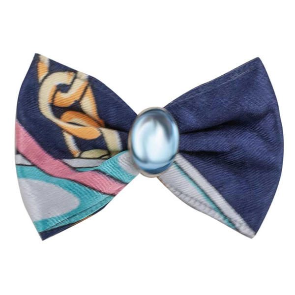 Blue and Pink Fancy Finishes Designer Satin Grooming Bows with Blue Oval Bead