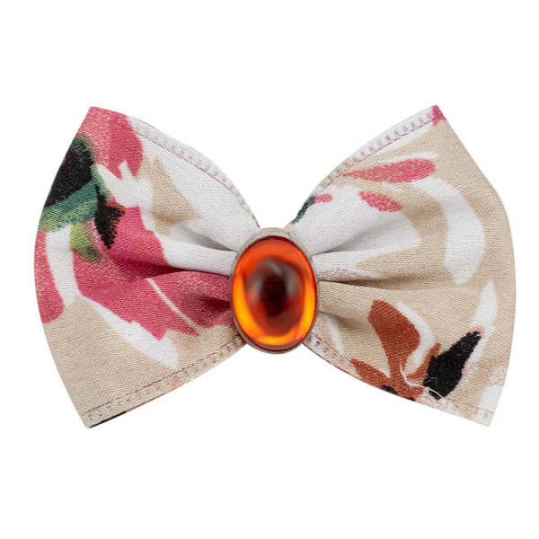 Pink and Cream Fancy Finishes Designer Satin Grooming Bows with Orange Oval Bead