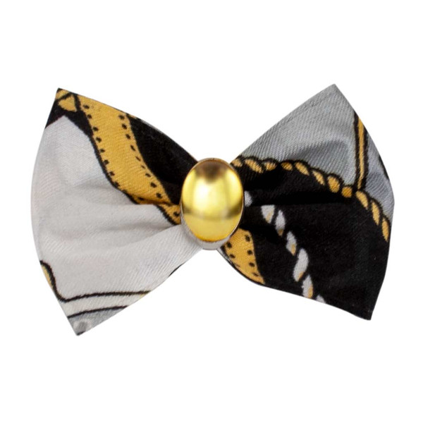 Black and Yellow Fancy Finishes Designer Satin Grooming Bows with Yellow Oval Bead