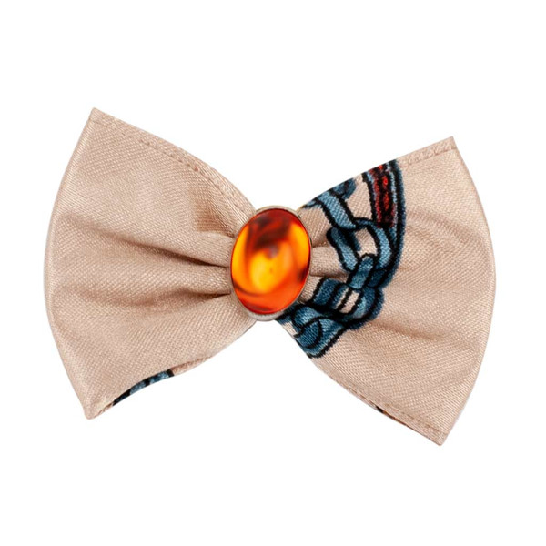 Cream Fancy Finishes Designer Satin Grooming Bows with Orange Oval Bead