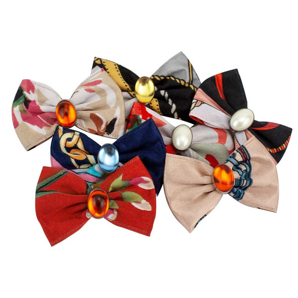 Fancy Finishes Designer Satin Grooming Bows with Oval Beads