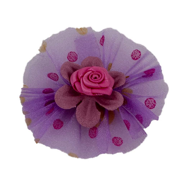 Purple Fancy Finishes Printed Dots Organza Bows