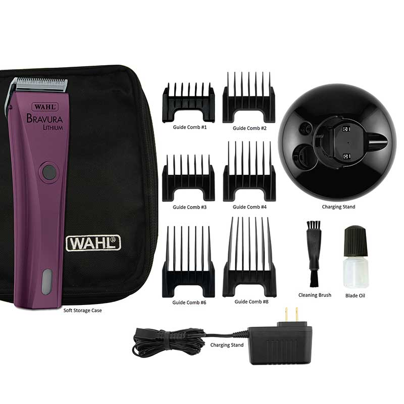 Kit for Wahl Bravura Li+ Grooming Clipper Purple with Accessories