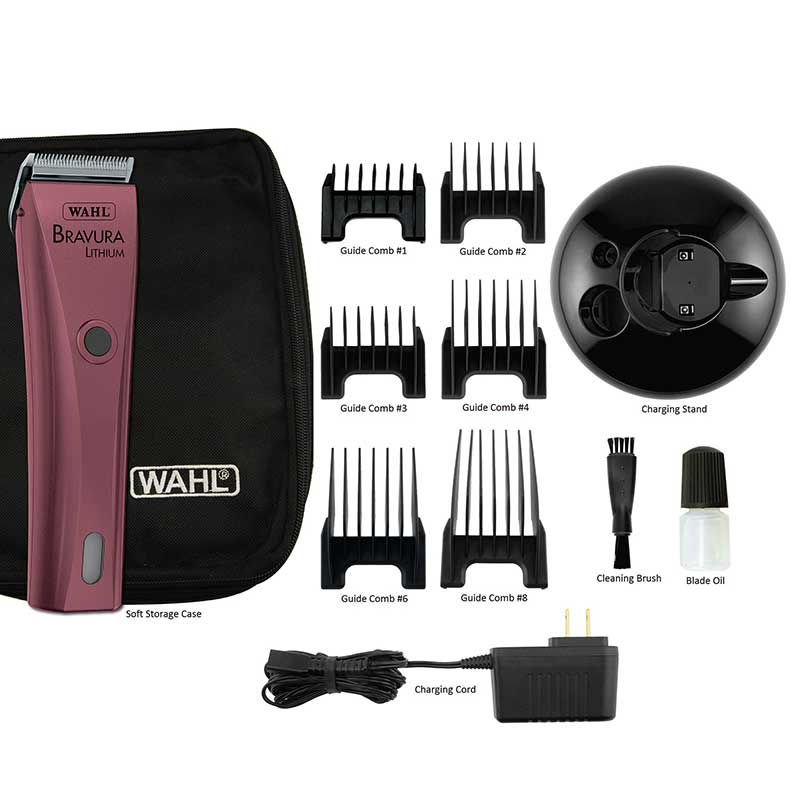 Wahl Bravura Li+ Clipper Pink Kit includes all Necessary Accessories