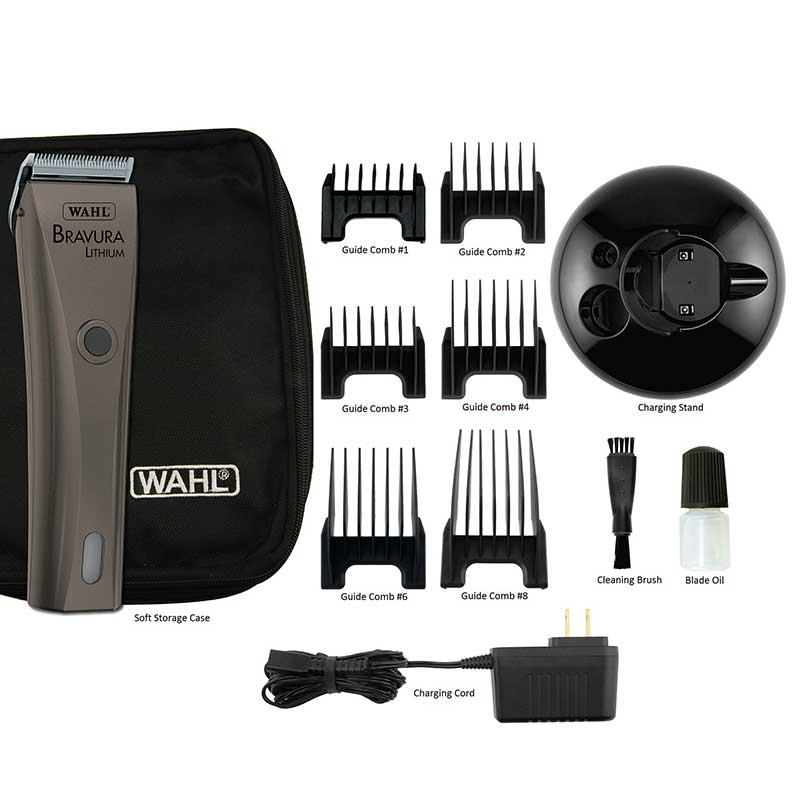 Wahl Bravura Li+ Clipper Gunmetal Kit and Accessories for Groomers