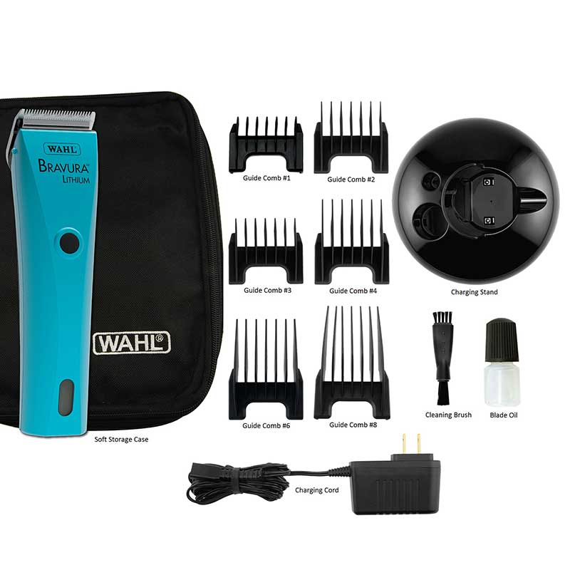 Kit for Wahl Bravura Li+ Grooming Clipper Turquoise includes Accessories and Charger