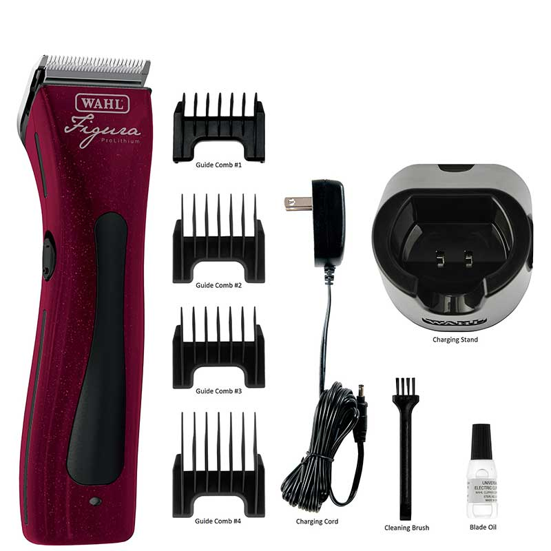 Wahl Figura Li+ Cordless Clipper Metallic Red Kit and Accessories