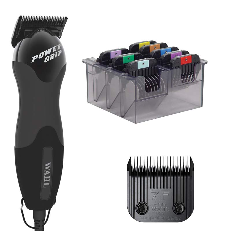 Wahl Power Grip 2 Speed Black Clipper with #7F Ultimate Blade and Stainless Steel Comb Set