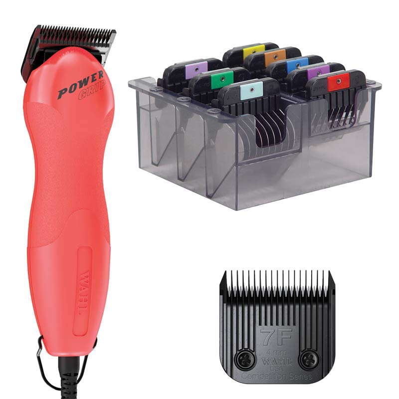 Coral Punch Wahl Power Grip 2 Speed an #7F Ultimate Blade with Stainless Steel Comb Set