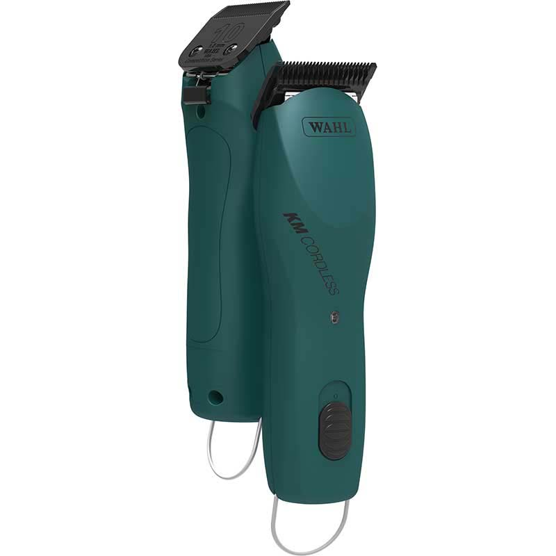 Front and Back of Wahl KM Cordless Grooming Clippers - Emerald Green