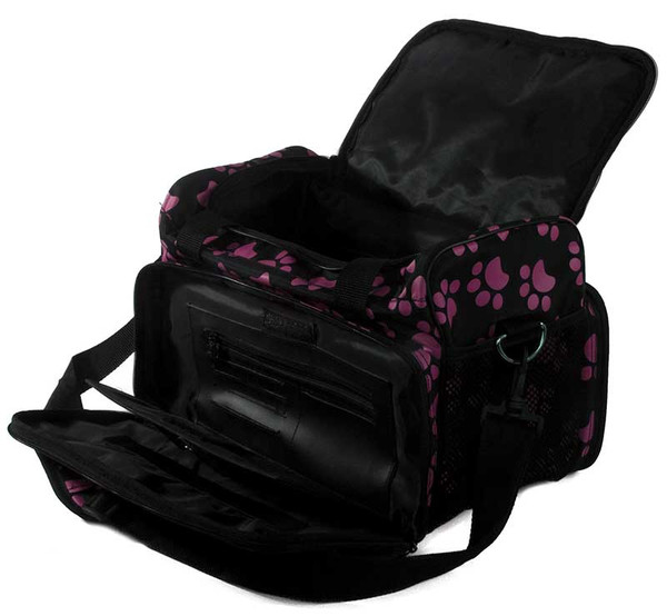 Wahl Travel Paw Print Bag Berry Open and Unzipped to see Inside