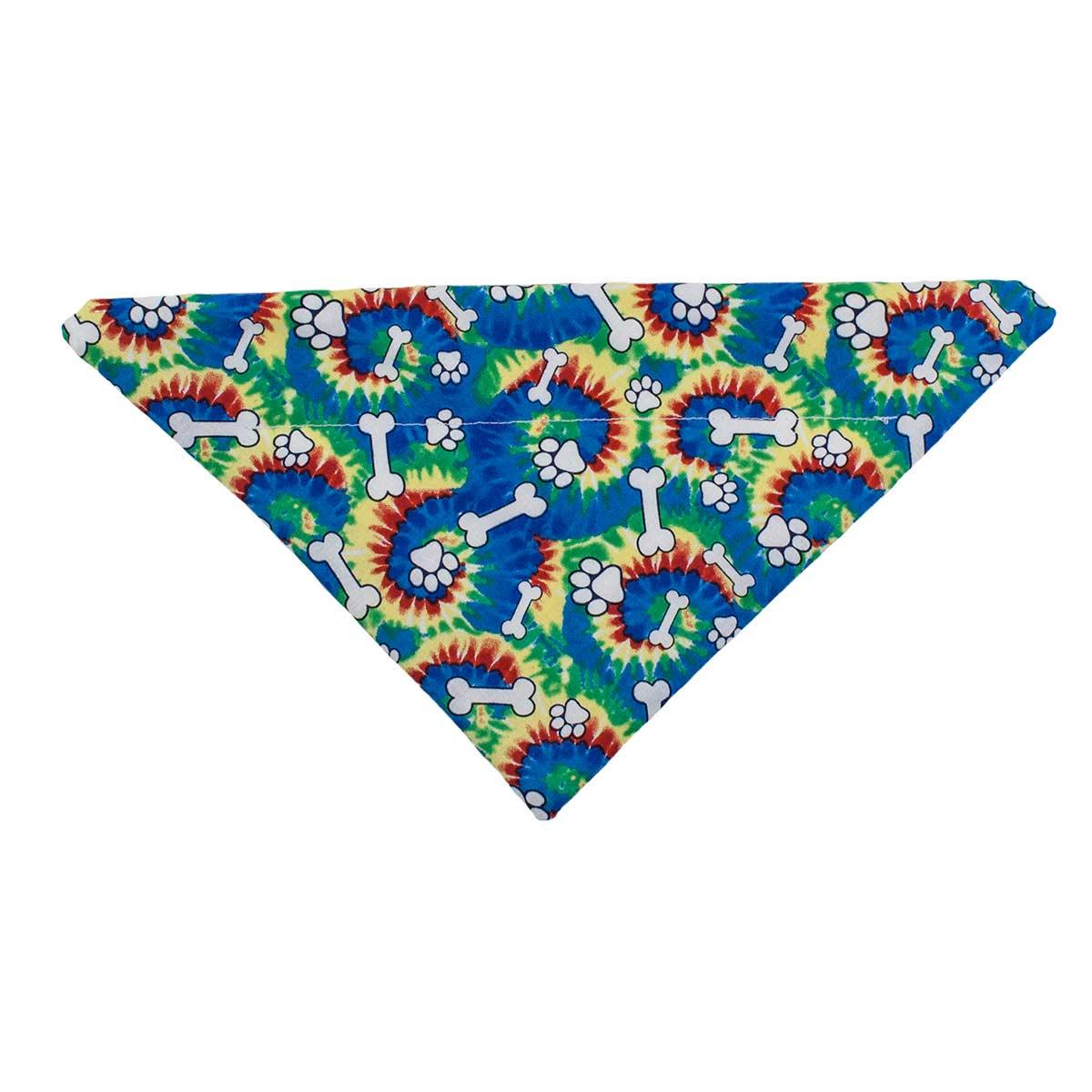 Tie Dye Bones and Paws X-Small 7.5 Collar Bandanna