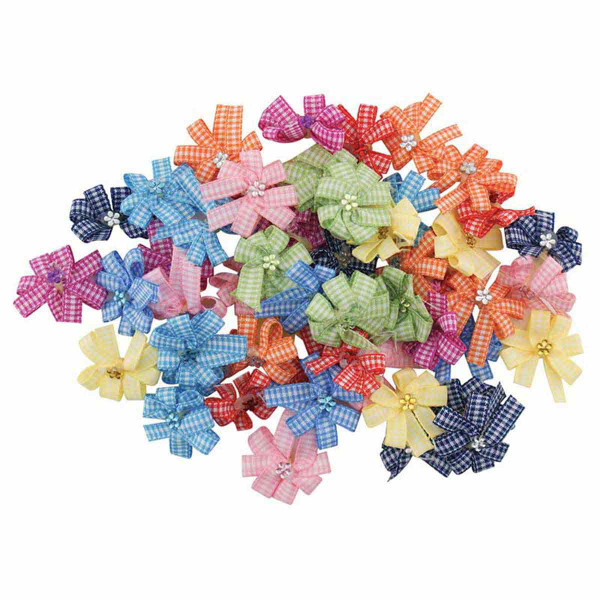 Package of 50 Fancy Finishes Premium Bows Gingham Pinwheel