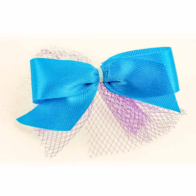 Blue Fancy Finishes Ribbon Tulle Grooming Bow