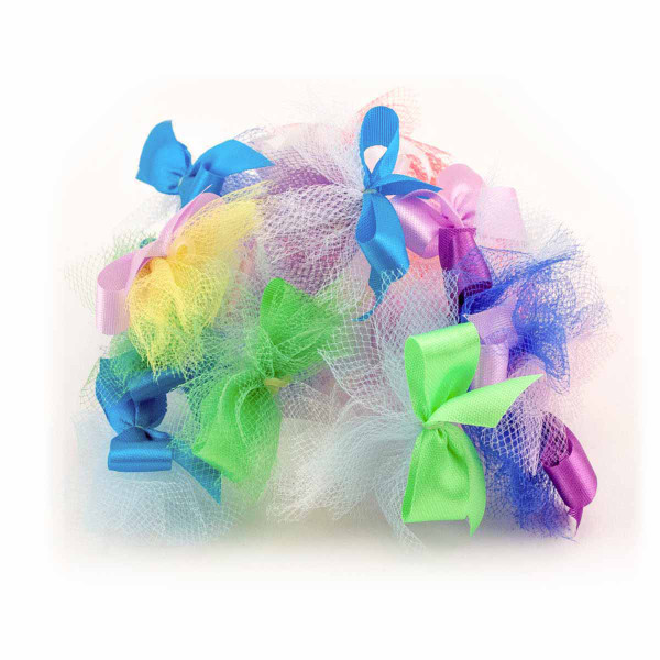 Assorted Fancy Finishes Ribbon Tulle Grooming Bows 20 Count