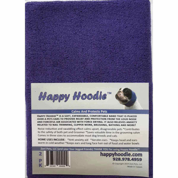 Purple Happy Hoodie 2 Pack Includes 1 Small and 1 Large for Dog Grooming